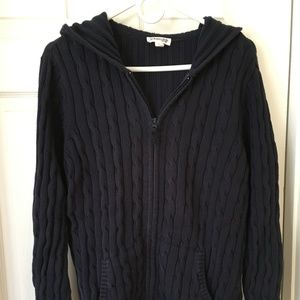 Navy blue cable knit hooded sweater